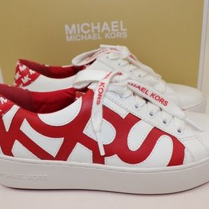 NEW MICHAEL KORS Red White Leather POPPY Sneaker